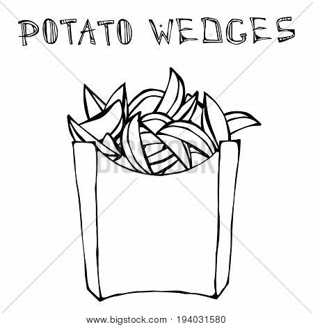 Potato Wedges in Paper Box. Fried Potato Fast Food in a Package. Realistic Hand Drawn Doodle Style Sketch. Vector Illustration Isolated On a White Background.