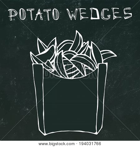 Potato Wedges in Paper Box. Fried Potato Fast Food in a Package. Vector Illustration Isolated on a Black Chalkboard Background. Realistic Hand Drawn Doodle Style Sketch.
