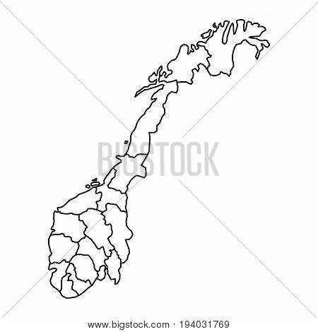 Norway map with fylke of black contour curves of vector illustration