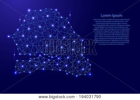 Map of Senegal from polygonal blue lines and glowing stars vector illustration