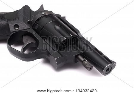 Revolver isolated on white background. Pistol gun.