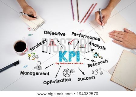 KPI Key Performance Indicator Concept. The meeting at the white office table.
