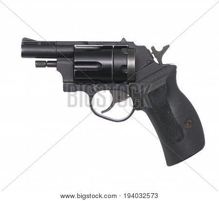 Isolated gun. Revolver pistol on white background.