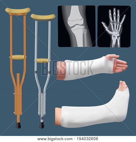 Set of medicine traumatology objects. Treatment of bone fracture. Plaster splint crutch x-ray. Isolated objects. Vector illustration.