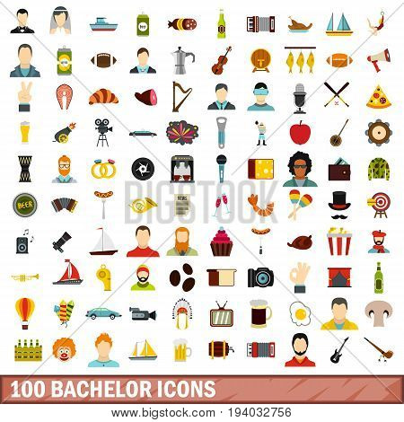 100 bachelor icons set in flat style for any design vector illustration