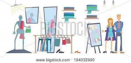 Young man and woman in clothing store. Fashion store, racks of clothes. customers try on clothes at the mirror. Vector illustration, isolated on white background.