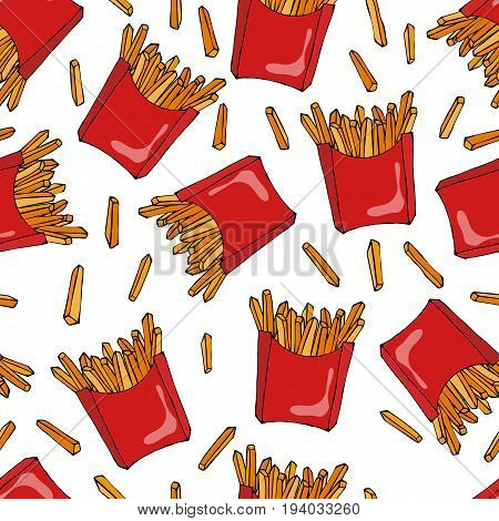 Crispy french fries seamless pattern with red paper boxes of fried potato. Realistic Hand Drawn Doodle Style Sketch. Vector Illustration Isolated On a White Background.