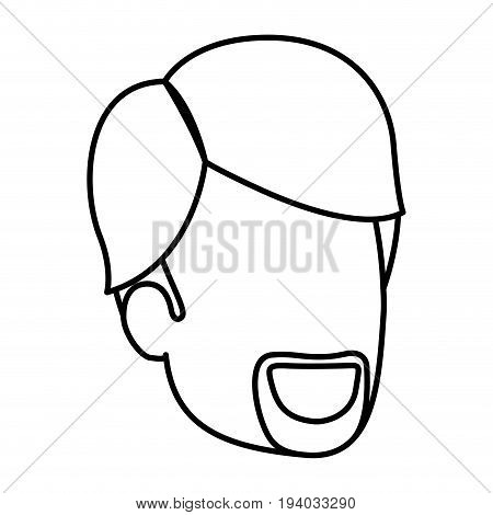 sketch silhouette of man faceless with van dyke beard and side parted hair vector illustration