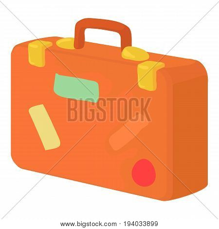 Brown suitcase icon. Cartoon illustration of brown vintage leather suitcase with stickers vector icon for web isolated on white background