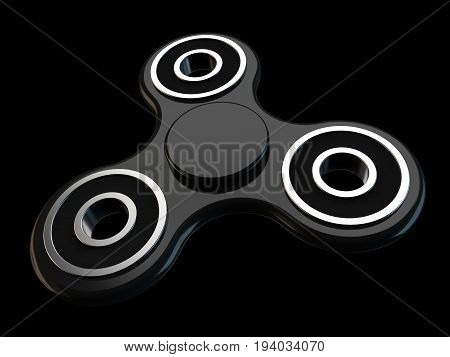 Fidget spinner stress relieving toy on black background