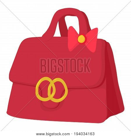 Red lady handbag icon. Cartoon illustration of red lady handbag vector icon for web isolated on white background