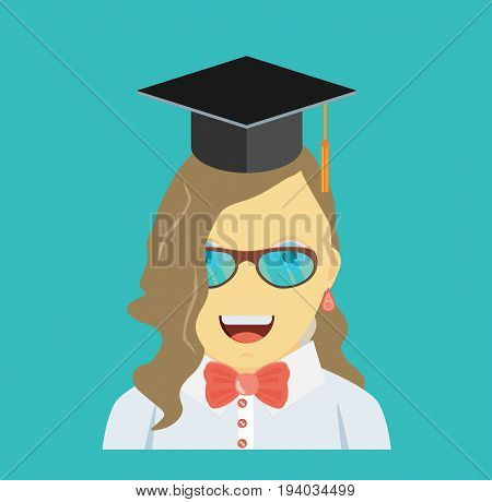 Graduating young woman in flat style design vector