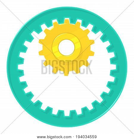 Large and small metal gears icon. Cartoon illustration of large and small metal gears vector icon for web isolated on white background