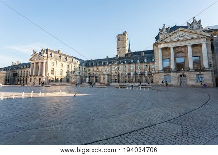 Liberation Square and the Palace of Dukes of Burgundy (Palais des ducs de Bourgogne) in Dijon France.