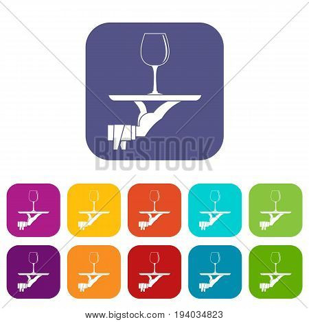 Waiter hand holding tray with wine glass icons set vector illustration in flat style In colors red, blue, green and other