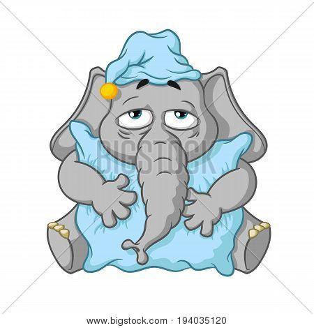Elephant. Character. Wants to sleep hugging a pillow. Big collection of isolated elephants. Vector, cartoon.