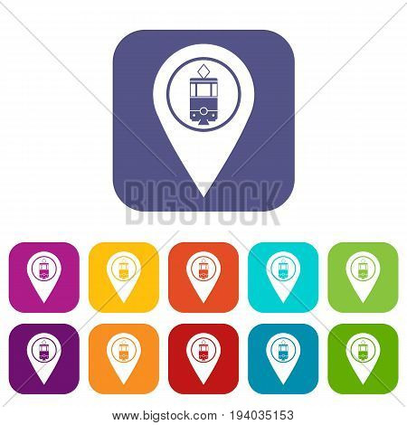 Geo tag with tram sign icons set vector illustration in flat style In colors red, blue, green and other