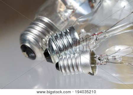 Three old edison Light bulb on the white
