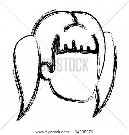 blurred silhouette of woman faceless with pair pigtails hair vector illustration