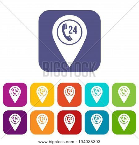 Map pointer with phone handset sign icons set vector illustration in flat style In colors red, blue, green and other