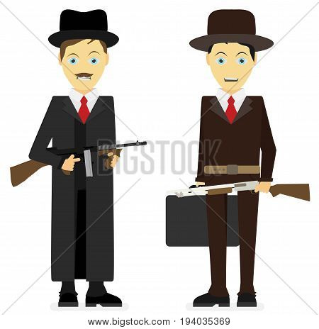 Gangsters. Vector flat illustration isolated on white background.