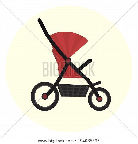 Flat red vector baby stroller icon. Unisex baby transport. Cute colorful baby girl and boy pram carriage symbol