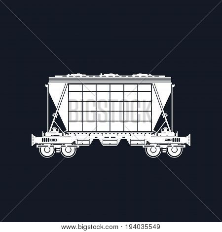Silhouette White Hopper on Railway Platform Isolated on Black Background Railway Transport Hopper Car for Transportation Freights Vector Illustration