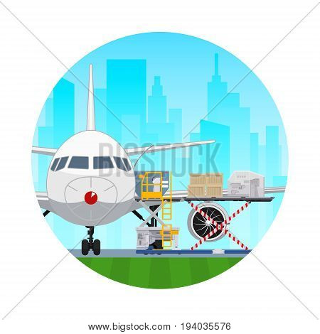 Air Cargo Services and Freight Icon Airplane with Autoloader at the Airport on the Background of the City Unloading or Loading of Goods into the Plane Vector Illustration