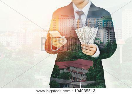 Businessman Holding Money Us Dollar Bills Business Financial Concept