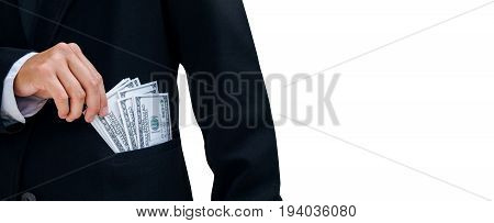 Business Man Keeping Money Dollar Bills. Saving Concept Isolated On White Background