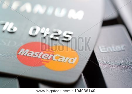 Credit Card With Mastercard Logo On Computer Keyboard