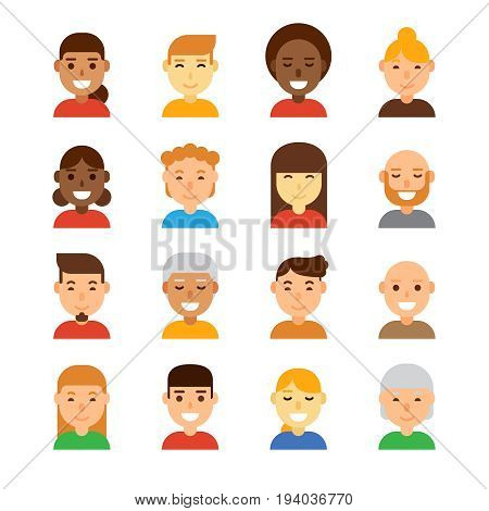 People avatar vector illustration. Human in modern flat style design. Business avatar on white background. Face vector concept for design web site, printed materials, social network, etc.