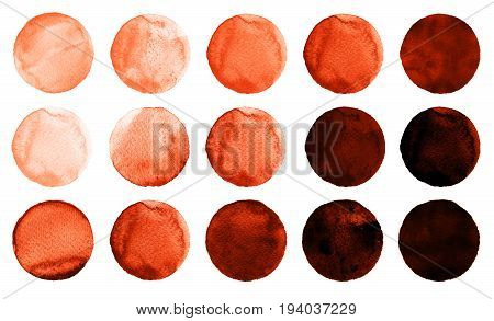 Set Of Burgundy, Brown, Dark Red, Sienna, Rufous, Maroon Watercolor Circles Isolated On White.