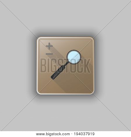 Vector illustration of lens square icon with plus and minus.