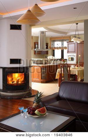 Interior of classically living room.