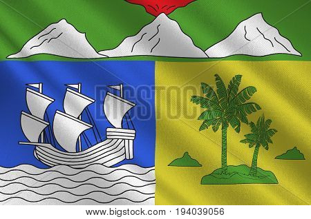 Flag of Saint-Denis is the prefecture of the French overseas region and department of Reunion in the Indian Ocean. 3d illustration