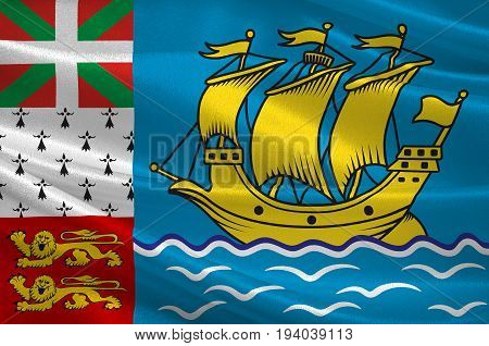 Flag of Saint Pierre and Miquelon officially the Overseas Collectivity of Saint Pierre and Miquelon is a self-governing territorial overseas collectivity of France situated in the northwestern Atlantic Ocean. 3d illustration