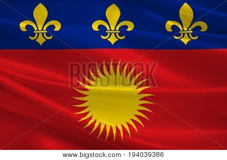 Flag of Basse-Terre is a French commune in the Guadaloupe department of France in the Lesser Antilles. 3d illustration