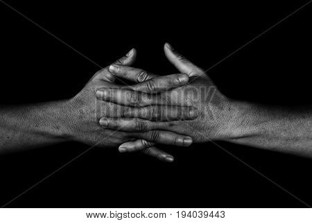 Hand Of Man Join Together On Black