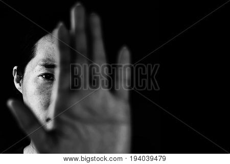Woman Behind Palm Of Hand, Stop Bullying In White Tone, Abuse Concept