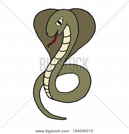 Cobra opened her hood and stuck out her tongue. The concept of a snake. The icon. Vector image. Handmade. For printing and web projects.