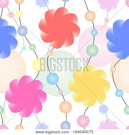 Endless necklace made of flowers and multicolored pearls. Vector seamless pattern