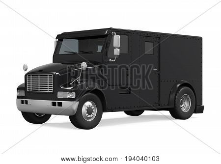 Black Armored Truck isolated on white background. 3D render