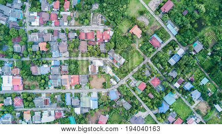 Neighborhood With Residential Houses And Driveways