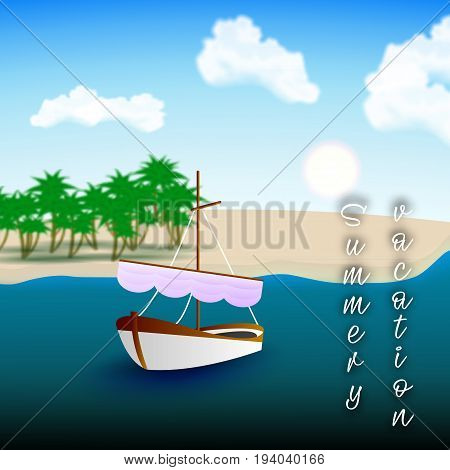 A beautiful single-deck boat in the boundless sea. Great summer vacation. Vector illustration to promote your holiday