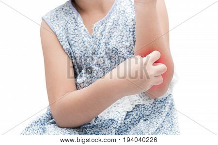 Asian Girl Scratch The Itch With Hand Her Arm Because Of Mosquito
