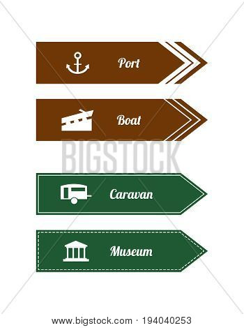 Tourist locations special direction signs with white icons