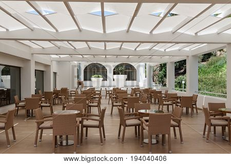 empty restaurant in the hotel is all inclusive in Greece