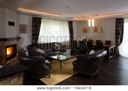 Interior view of the an open home living room