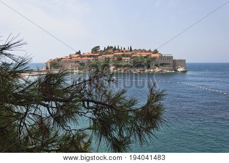 Sveti Stefan Island on the Budva Riviera. Montenegro summer 2017